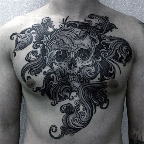 skull chest tattoos top 90 best chest tattoos for manly designs and ideas