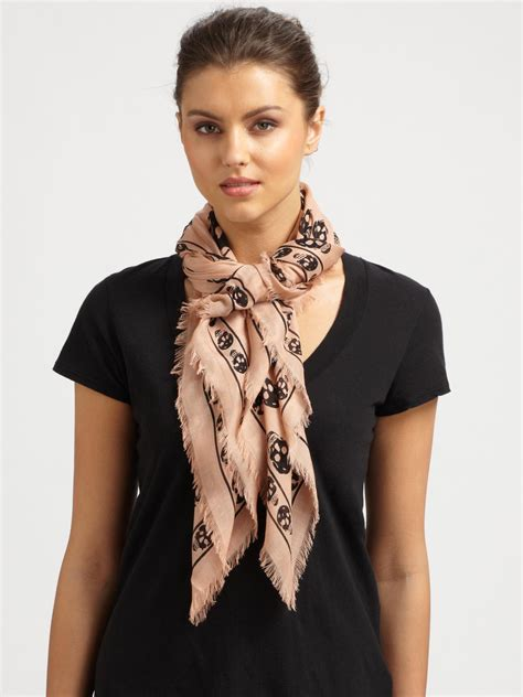 Ghivenchy Rosblack New mcqueen classic fringe skull scarf in pink lyst