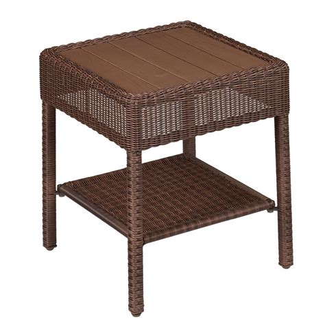 rattan accent tables hton bay park meadows brown wicker outdoor accent table