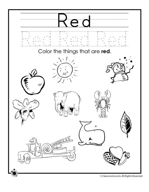 preschool red coloring pages learning colors worksheets for preschoolers color red