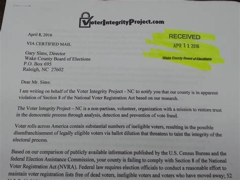 wake county section 8 nvra notice filed with wake boe by voter integrity project
