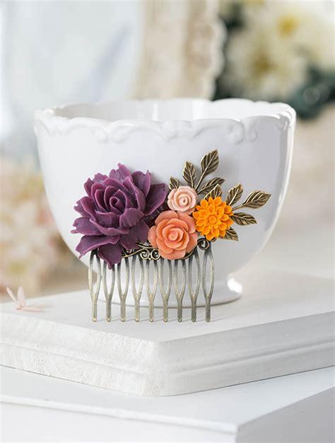 Sr Comb Purple purple orange wedding hair comb plum eggplant purple coral