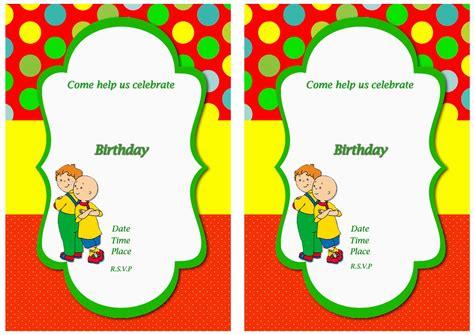 Caillou Birthday Card Caillou Birthday Invitations Birthday Printable