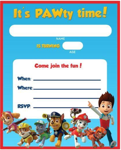 paw patrol birthday card template free free printable paw patrol birthday invitation ideas free