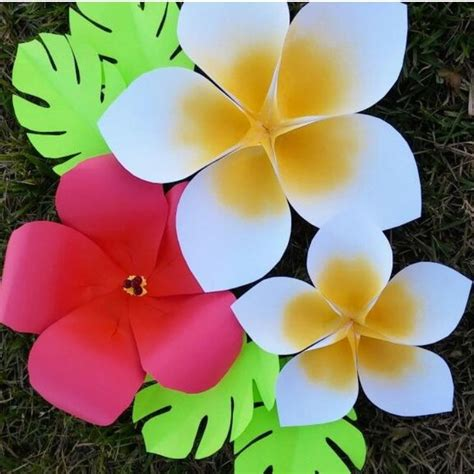 How To Make Paper Hawaiian Flowers - hawaiian paper flower templates tutorial paper