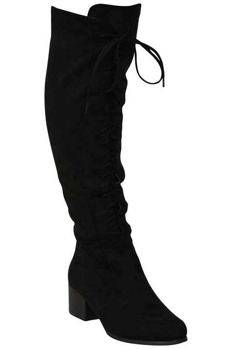 womens faux suede thigh high mid block heel boots front