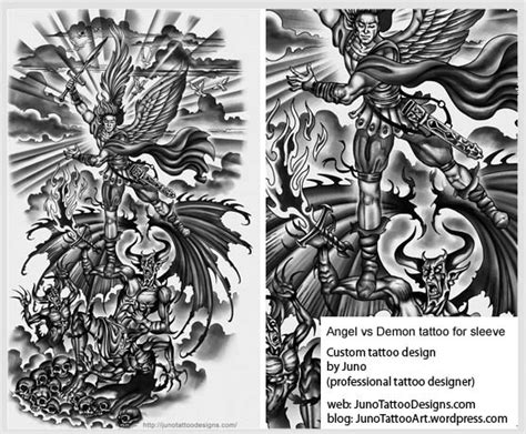 angel demon tattoo sleeve designs vs tattoos archives how to create a