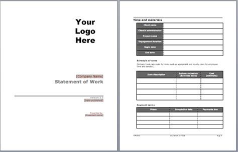 statement of work template free statement of work template microsoft word templates