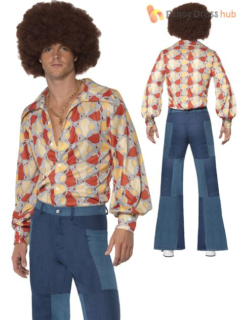 mens groovy hippy flares 60s 70s fancy dress hippie