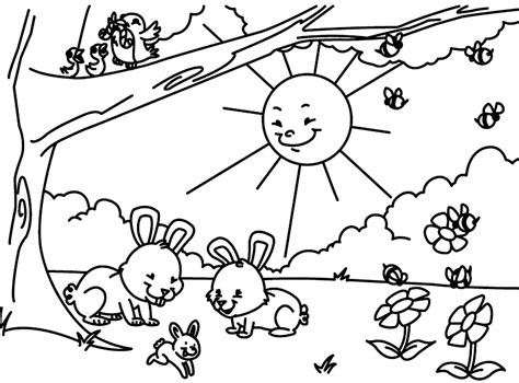 spring house coloring pages outdoor children activities in spring coloring page