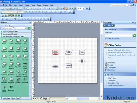 visio 2003 tutorial creating a basic flowchart from the course visio 2003