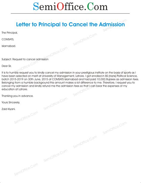 cancelling enrollment letter application for cancellation of admission