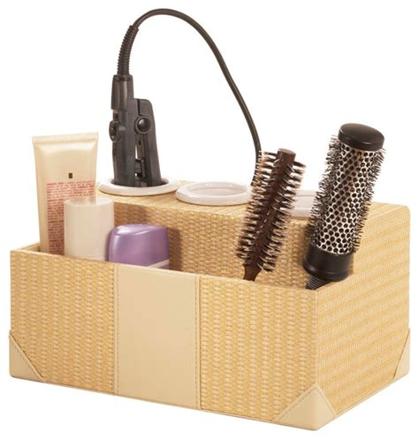 bathroom storage for hair tools woven rattan hair styling station contemporary