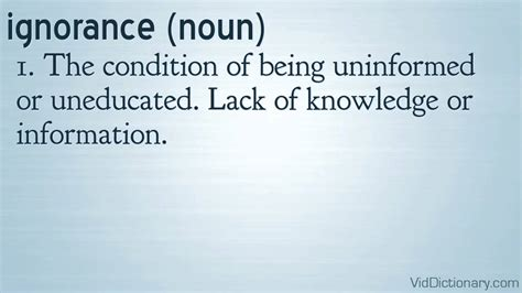 L Of Knowledge Meaning by Ignorance Definition