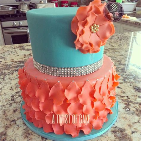 Turquoise Baby Shower by Turquoise And Coral Baby Shower Cake Cakes