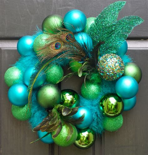 christmas wreath holiday wreath peacock front door by