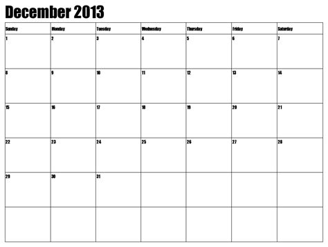 free printable december 2013 calendar with holidays 7 best images of large printable calendar december 2013
