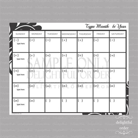 editable monthly calendar   printable  delightfulorder