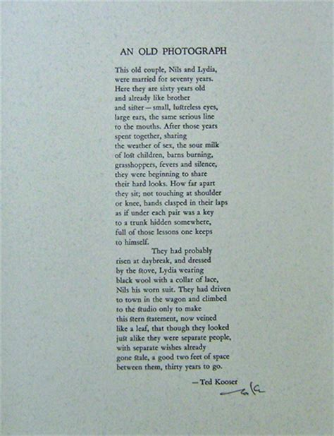 Thick Sheets by An Old Photograph Signed Poetry Broadside Ted Kooser