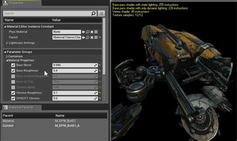 Blueprint Editor material instance editor user guide unreal engine