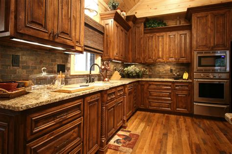 rustic cabin style traditional kitchen charlotte