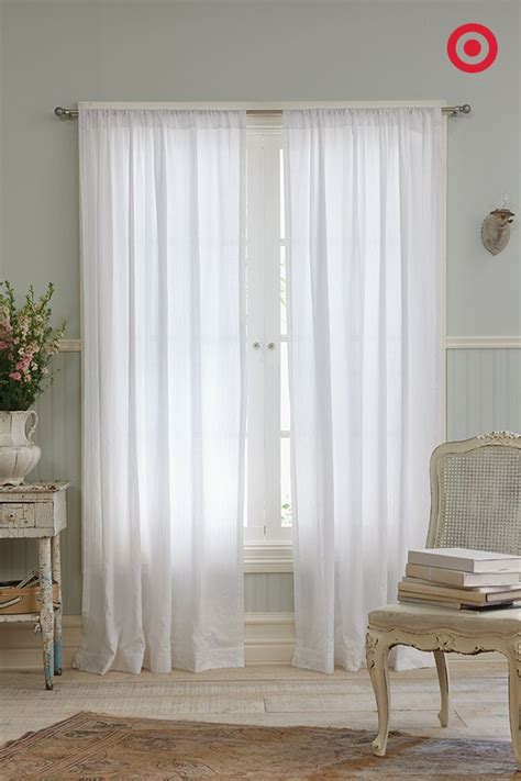 dobby stripe sheer curtain panel true white simply