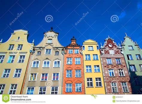 Europe A Few Buildings by Buildings On Market Gdansk Poland Town