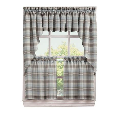 lichtenberg blue dawson microfiber plaid kitchen curtain