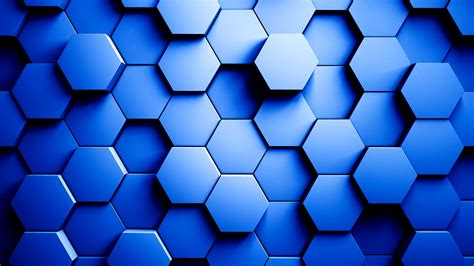 3d color abstract hexagons background random motion blue color 3d