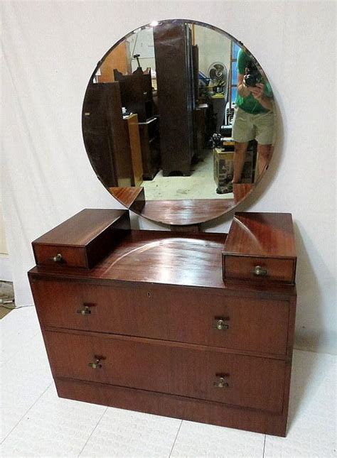 art deco dresser round mirror vintage antique mahogany dressing table vanity w round