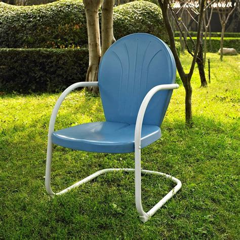 Steel Patio Chairs Shop Crosley Furniture Griffith Sky Blue Steel Patio Conversation Chair At Lowes