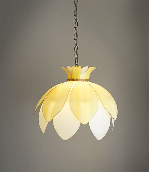 vintage plastic flower hanging l light fixture yellow