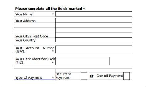 Direct Debit Forms Template by 10 Direct Debit Forms To Sle Templates