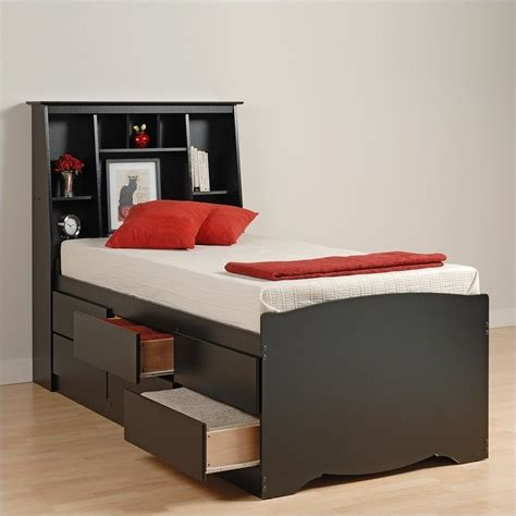 black twin bed with storage black tall twin bookcase platform storage bed bbt 4106 kit