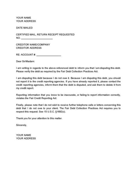 Debt Dispute Letter Template How To Dispute A Debt With A Collections Agency Fearon