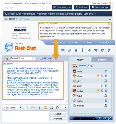 free ipboard post notifier module for 123 flash chat