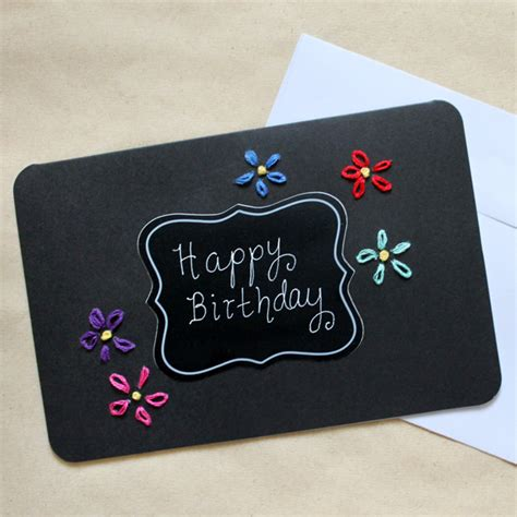 How To Make A Handmade Greeting Card - handmade birthday card coloured embroidery on black