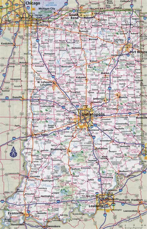 usa towns map of indiana cities road map of indiana with cities