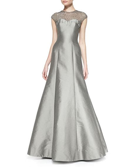 cap sleeve beaded illusion gown ml lhuillier cap sleeve beaded lace illusion gown