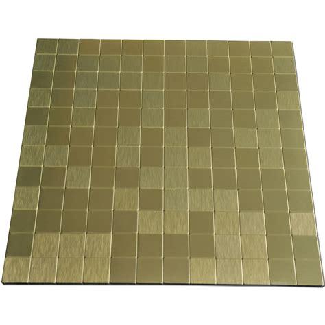 self stick metal backsplash tiles peel n stick metal mosaic 10 sheets bronze square tiles 12x12in
