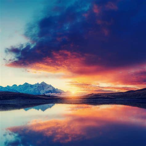 beautiful sunset   lake nature qhd wallpaper