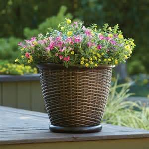 better homes and gardens 18 quot faux wicker planter brown