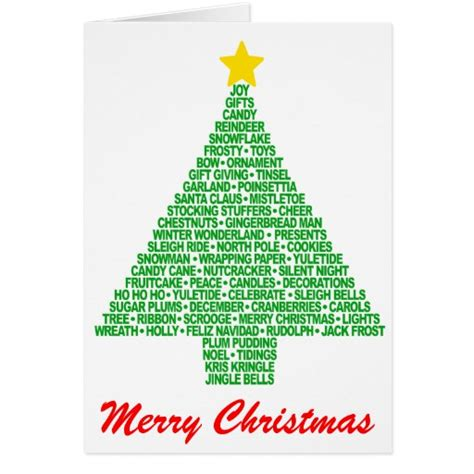 christmas tree words greeting cards zazzle