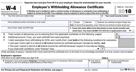 Irs W4 Form 2018 Printable