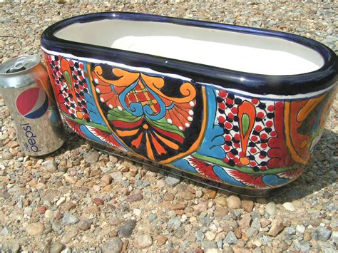 mexican pottery planters painted mexican talavera planter pottery plant pot initialed marked bz pottery