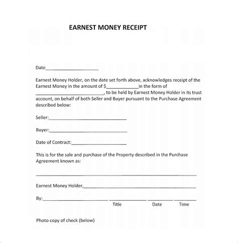 receipt template for escrow money 30 money receipt templates doc pdf free premium