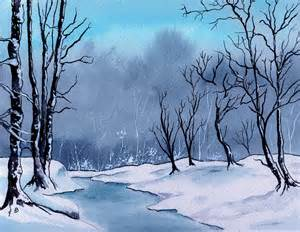 Shower Curtain X - maine snowy woods painting by brenda owen