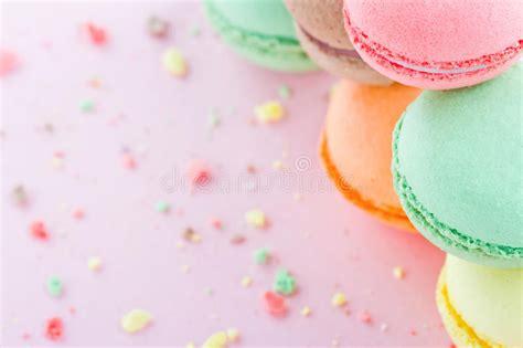 Macaroons On Pastel Pink Background Stock Photo   Image of