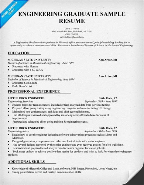best resumes for engineering graduates engineering graduate resume sle resumecompanion resume sles across all industries