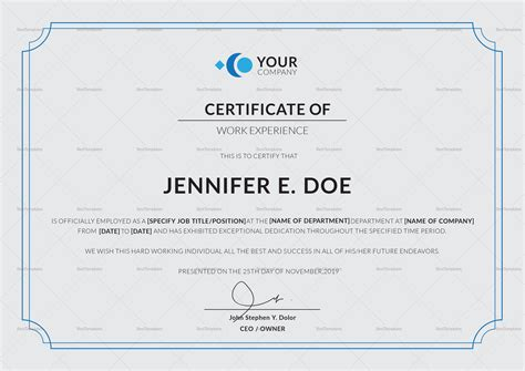 work experience certificate template in psd word
